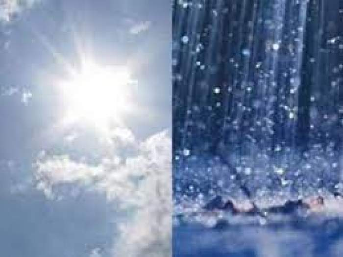 Colaj foto cu un cer senin și o zi ploioasă