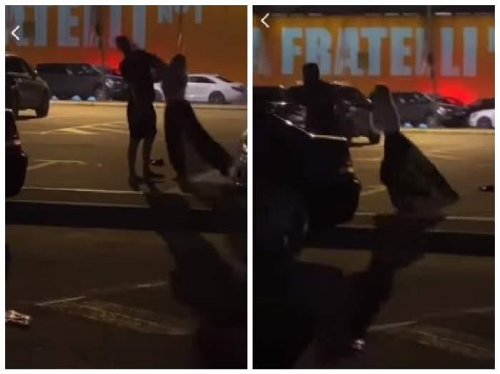 capturi din filmarea în care femeia își bate iubitul în fața clubuui din mamaia
