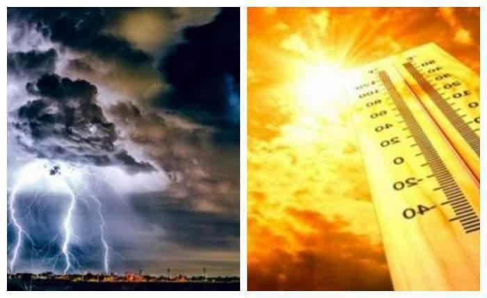 Colaj foto cu furtuna și caniculă