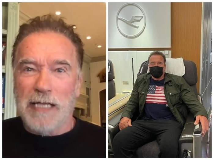 Colaj cu Arnold Schwarzenegger, vorbind despre masac de protecție și purtând masca de protecție