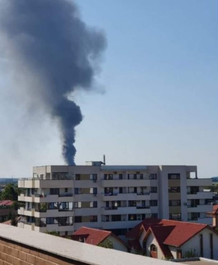 Incendiu violent la o hală din Mogoșoaia. Flăcările puternice au făcut prăpăd în jur/ FOTO
