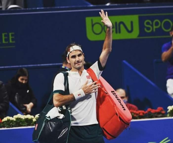 Roger Federer, la finalul unui meci