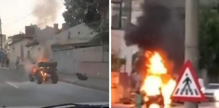 Un ATV a luat foc în timp ce se afla în trafic, la Pitești. Tânărul care-l conducea a reușit să își salveze viața în ultimul moment