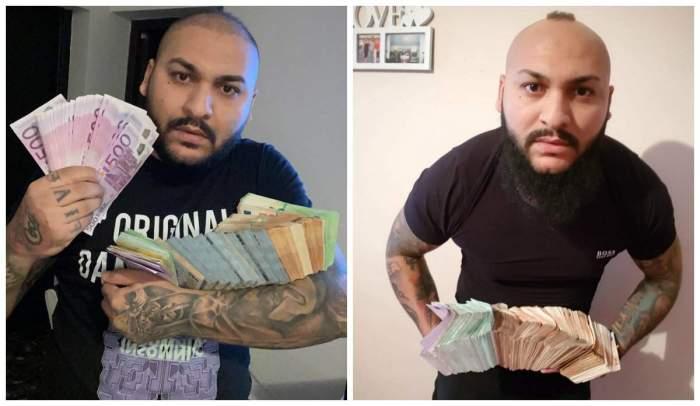 Colaj foto cu Dani Mocanu care ține un teanc de bani în mână