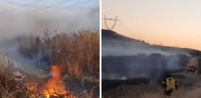 Incendiu de vegetație în apropiere de Drobeta Turnu-Severin. Flăcările s-au extins rapid, iar zeci de hectare au fost mistuite