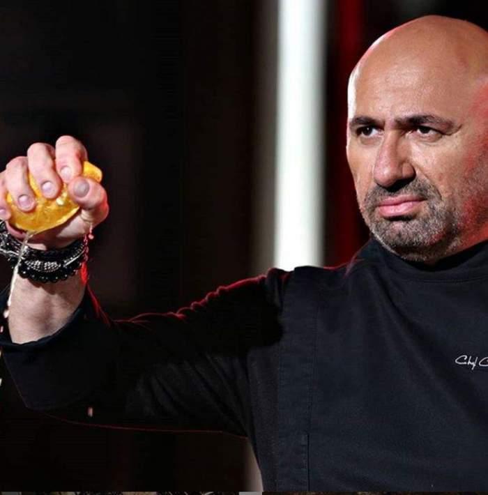 Cătălin Scărlătescu, îmbrăcat în tunca neagră de bucătărie