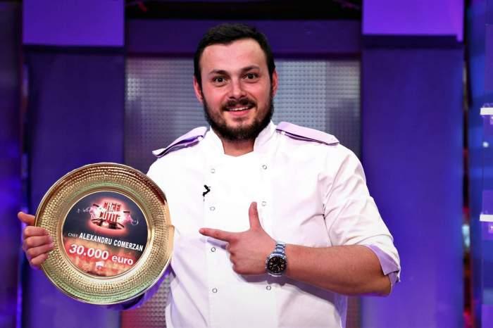 Alexandru Comerzan cu premiul de la Chefi la cuțite