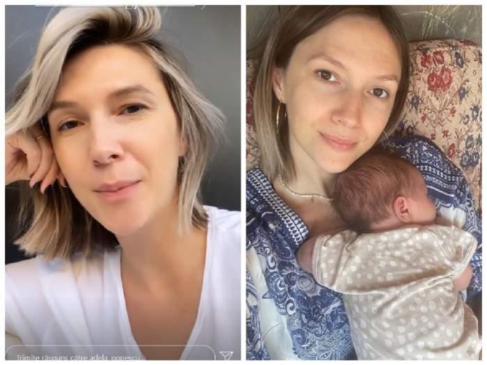 Colaj cu Adela Popescu pe InstaStory și cu bebelușul în brațe