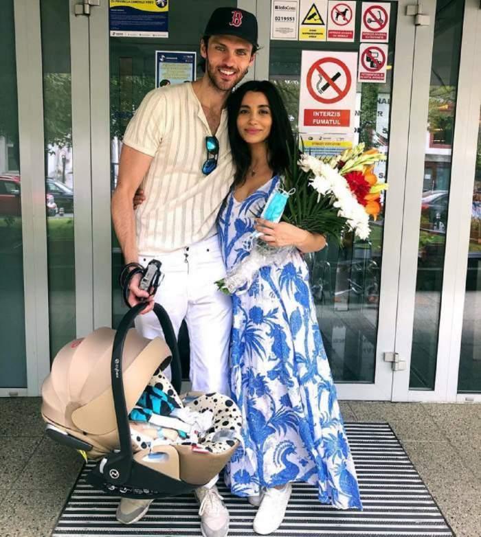 Lili Sandu, iubitul și copilul la ieșirea din spital