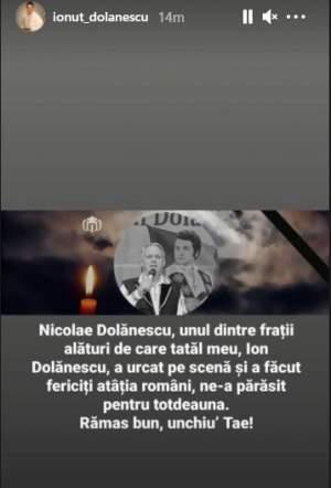A murit fratele lui Ion Dolănescu! Anunțul a fost făcut de Ionuț Dolănescu, fiul regretatului artist