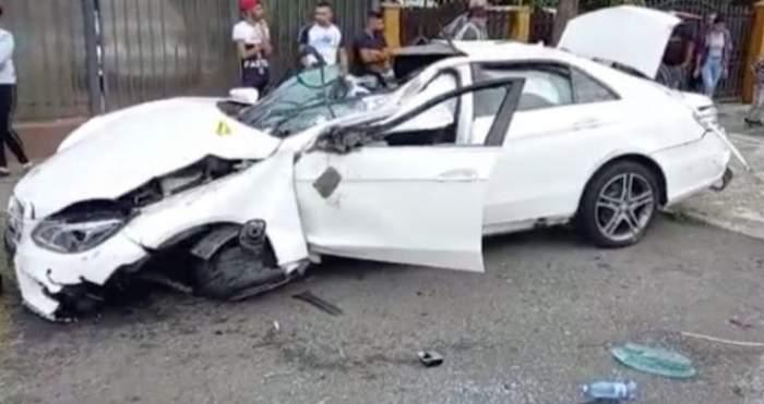 Mașina lovită din Argeș