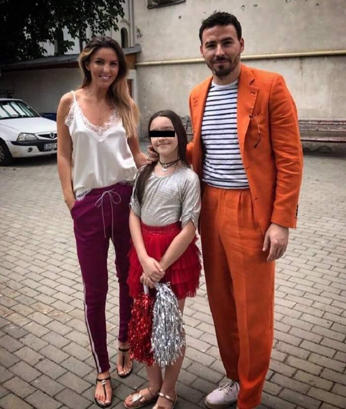 Denisa Nechufir alături de fiica sa și Adi Cristea