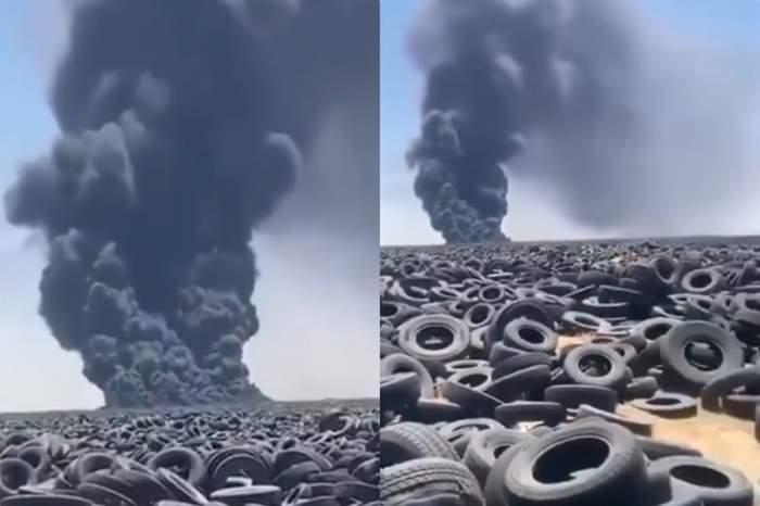incendiu depozit anvelope