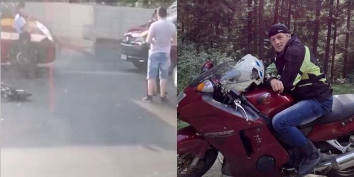 motociclist lovit trafic un tanar cu trotineta
