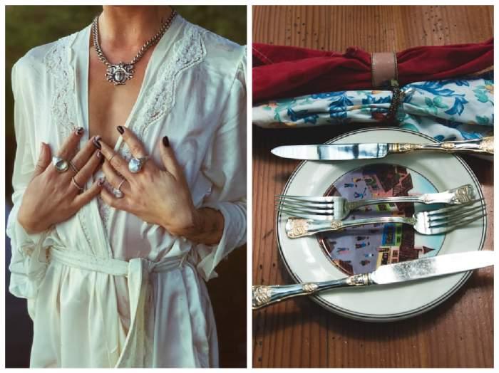 colaj cu femeie purtând bijuterii de argint și o farfurie cu tacâmuri de argint