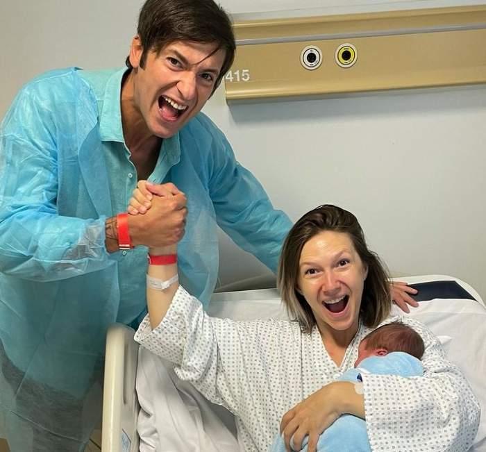 adela popescu si radu valcan la spital cu copilul