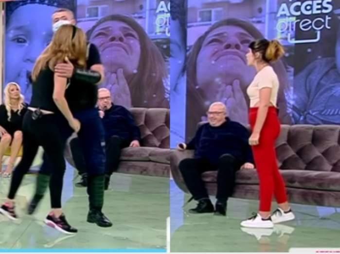 Acces Direct. Mama gemenilor din Ploiești a vrut să o lovească pe prietena Alina. Andreea a fost scoasă din platoul emisiunii / VIDEO