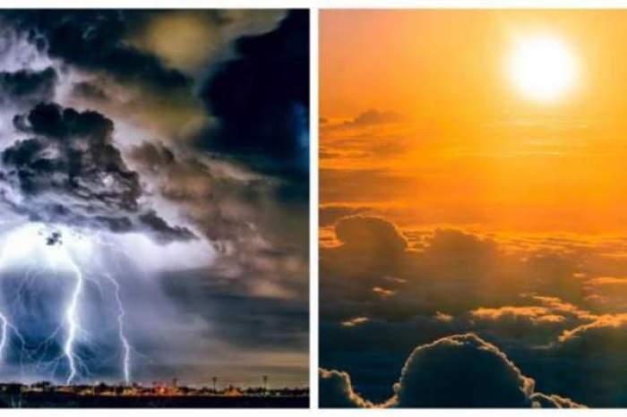 Colaj foto cu vreme însorită și vreme ploioasă