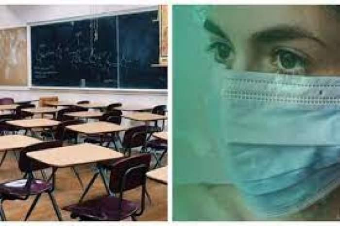Colaj foto cu o fată cu mască de protecție și o sală de curs goală