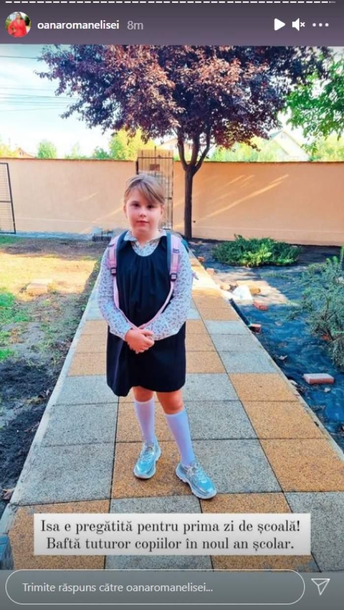 Fiica Oanei Roman, pregătită pentru prima zi de școală. Cum a îmbrăcat-o vedeta pentru începutul clasei I / FOTO