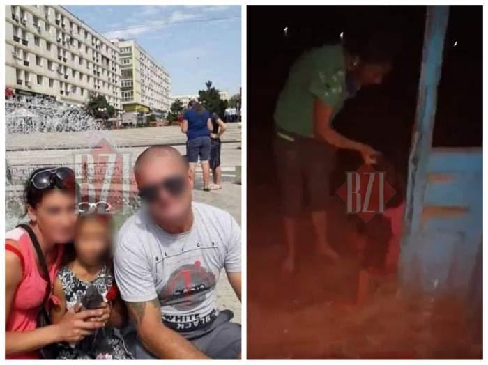 Colaj cu agresoarea și soțul ei, alături de o imagine în care femeia o trage de păr pe adolescentă