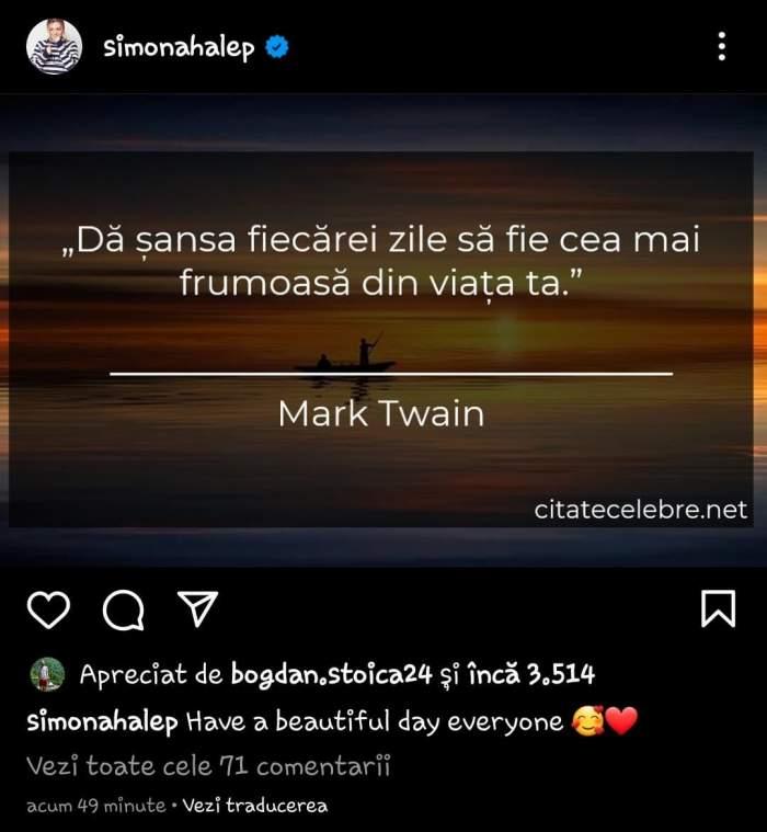 """Simona Halep, primele declarații cu doar câteva ore înainte de nuntă! Ce a postat pe Instagram sportiva: """"Dă șansa fiecărei zile să fie..."""""""