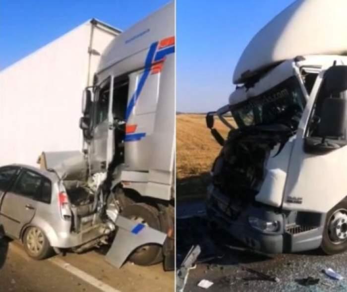 Accident de proporții la ieşirea din Balş! Patru camioane şi un autoturism au fost strivite / FOTO