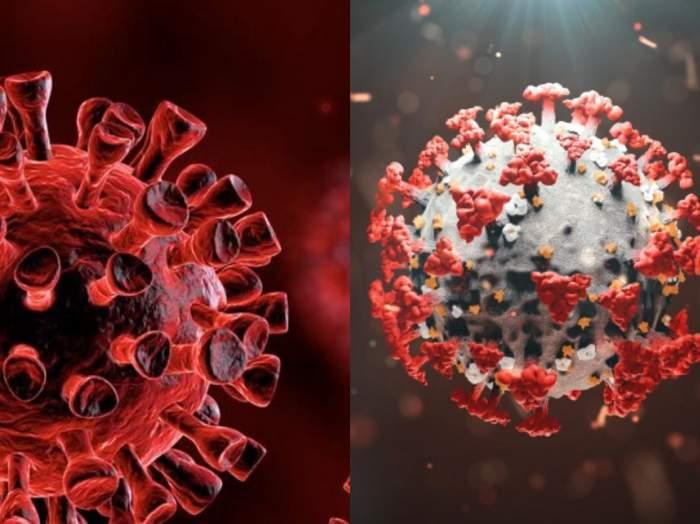 Colaj foto cu semnul ce indică noul coronavirus