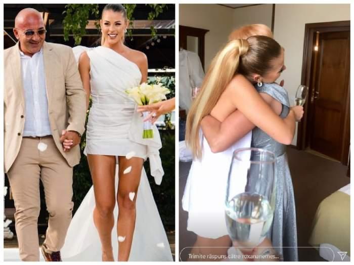 Colaj Roxana Nemeș în ziua nunții și cu ea alături de mama ei