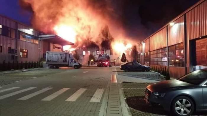 Incendiu puternic în Parcul Tetarom din Cluj-Napoca