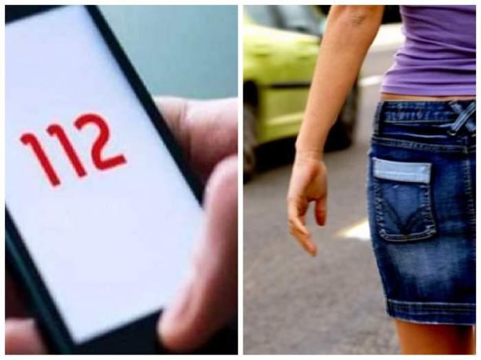 colaj cu telefon care apelează 112, și o tânără în fustă pe stradă
