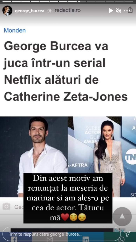 """George Burcea va juca alături de Catherine Zeta-Jones într-un serial Netflix. Cum l-a felicitat Viviana Sposub: """"Bravo, iubire!"""""""