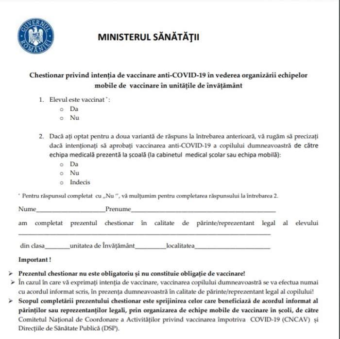 Cum arată chestionarul pentru vaccinarea elevilor, lansat de Ministerul Educației. Fiecare părinte din România îl va primi / FOTO