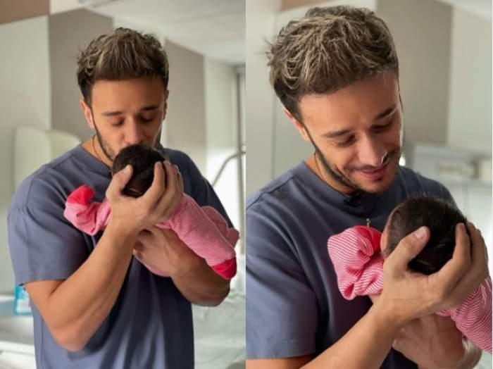 """Dima Trofim a postat prima fotografie cu fiica lui, Ania. Prezentatorul Antena Stars nu-și mai încape în piele de fericire: """"Nici nu știam cât de mult te așteptam"""" / FOTO"""