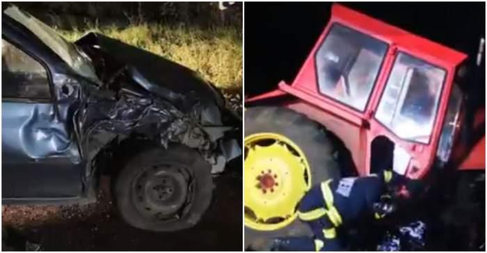 Tractor rupt în două, în urma impactului cu un autoturism. Trei persoane au ajuns de urgență la spital