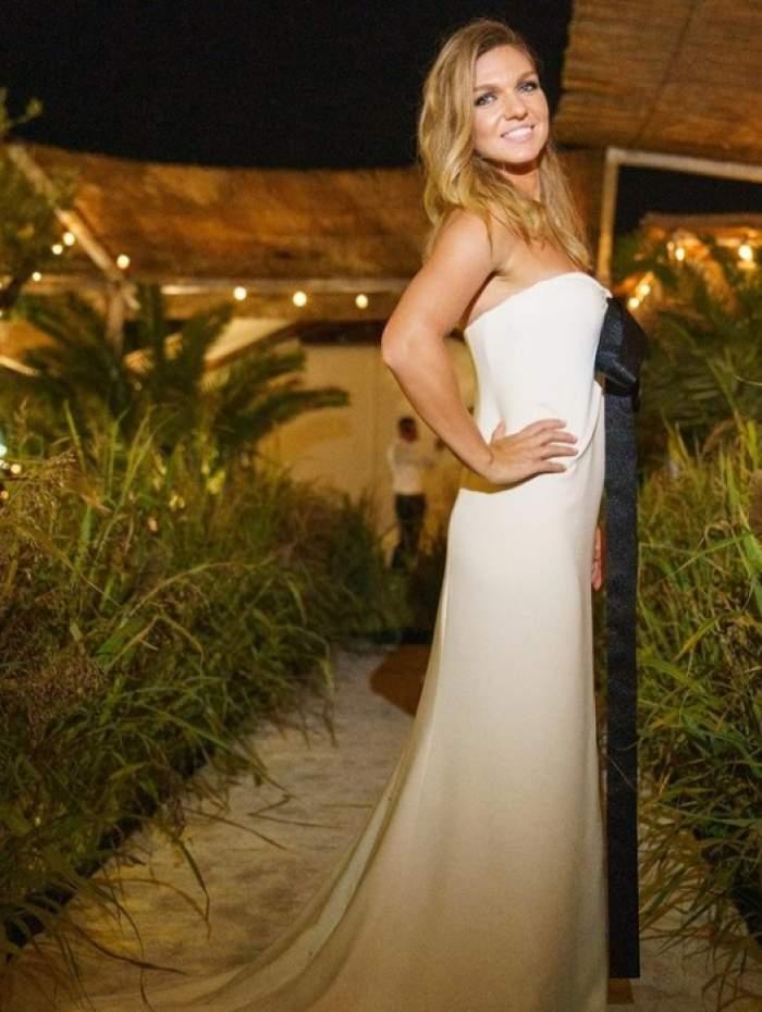 simona halep in rochie alba