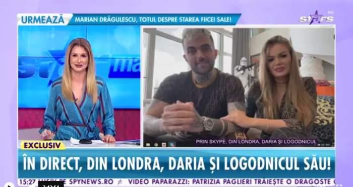 """Daria Radionova și logodnicul ei, prima apariție publică, la Antena Stars. Cum a cunoscut-o tânărul pe fosta lui Alex Bodi: """"A început acum doi ani"""""""