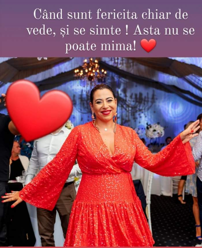 Oana Roman, zâmbitoare,în rochie roșie