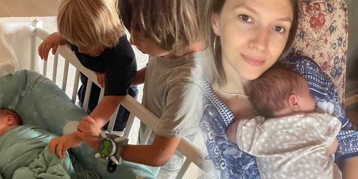 Colaj foto cu Adela Popescu și cei trei băieți