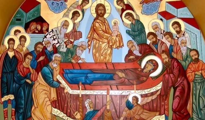 Maica Domnului, întinsă, printre sfinți cu copii în brațe
