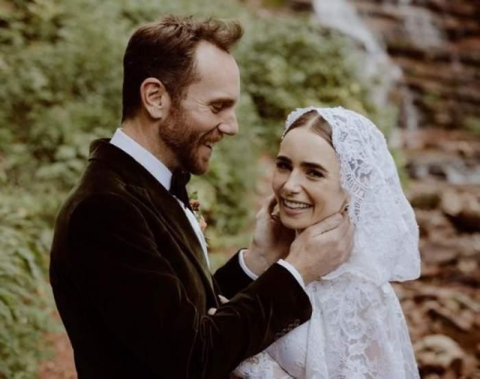 Lily Collins și soțul ei în ziua nunții