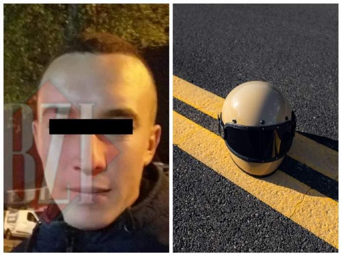 Colaj cu tânărul mort în accident și o cască de motociclist  pe carosabil