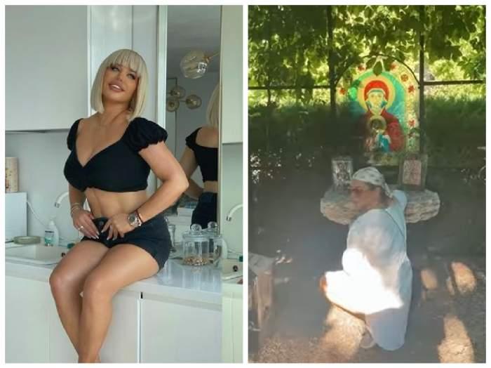 Loredana Groza, colaj sumar îmbrăcată și aflată în genunchi  în fața icoanei