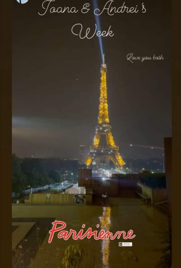 Poză cu Turnul Eiffel de la nuntă